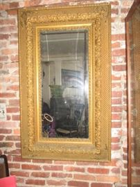 very rare very large 1800-1900s gilt mirror -wood carved