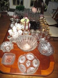 misc cut glass items and pressed glass - crystal & China