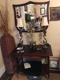 Mahogany Desk/Table, Antique Mirror, Decorator Lamps, Sony CD Player, Large Wicker Vase,