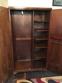 Interior of Burl Walnut Wardrobe