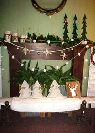 FIREPLACE MANTLE WITH DECORATIONS