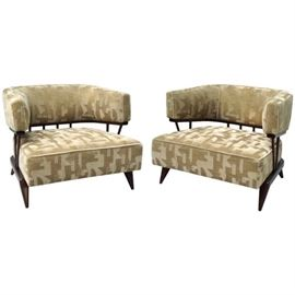 Pair of Mohair Moderne Loungers