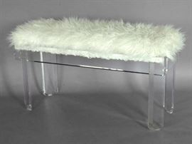 Vintage Lucite and faux fur bench