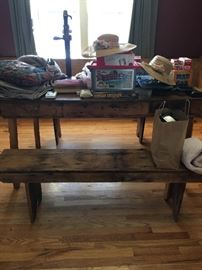 Wood Table and Benches