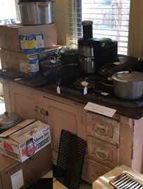 Canning Jars and Pressure Cookers, Cuisinart pans, Grante, Pink vintage cabinet, Juicer, George Forman Grill, Deep Fryer