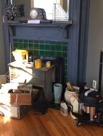 Architectural wood pieces, Vase, Ceramic pot, shop Vac, tire pump,