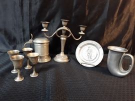 Antique Candelabra Pewter Dishes