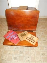 Antique wooden school desk, one of 2