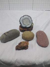 Geode with assortment of minerals, and rocks