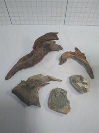 Assortment of minerals/rocks and driftwood