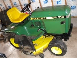 John 361 Tractor, Sweeper and cart