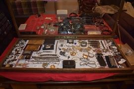 Taxco Sterling, 3 Elgin pocket watches, Waltham pocket watch, Bulgari bracelet, Gold washed Cigarette cases, Gucci money clip, a nice selection of quality items