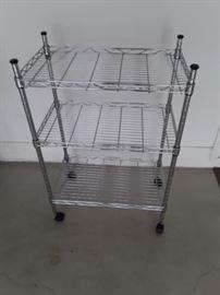 3 shelf chrome rolling rack 33 tall