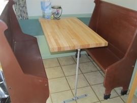 breakfast booth...two wood benches and a butcher block table