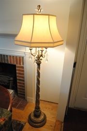 """Elegant, Floor Lamp Called """"A Mid Summer Nights Dream"""" By Fine Art Lamps, Antiqued in Gilded Gold, Moon Dusted Crystal Pendants, Hand Sewn Silk Shade; Shade 13"""" x 21"""" x 13"""" $700.00"""