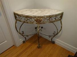 Metal & Marble Curved Corner Table (3 Legs). $130.00