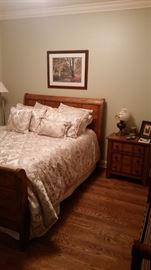 Queen-size headboard, footboard, mattress set, & matching side table, Raymond L. Waites bedding set-SOLD, silver floor lamp
