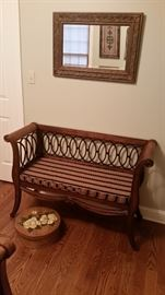 Wall mirror, decorative bench, painted wooden round box