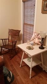 Antique wooden rocking chair, Victorian painted display table-SOLD, table lamp, crystal clock-SOLD
