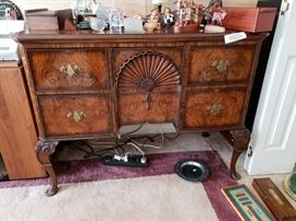 Antique burlwood sideboard