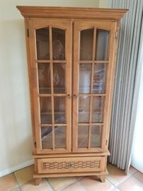 Lighted, wood display cabinet with glass shelves