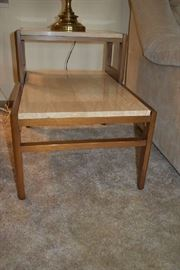 MARBLE/WOOD SIDE TABLE