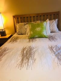 Queen Light Wood Bedroom, Bed Frame, Dressers and Bedside Stands.  Mattress not included.
