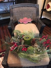 Woven Accent Chair and Ottoman, Holiday Decor