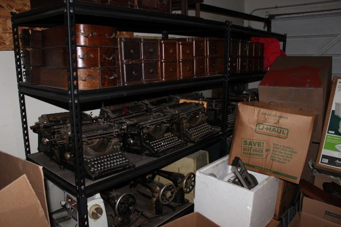 Antique typewriters, sewing machines, sewing drawers, attachments, etc