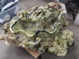 250 pounds of serpentine jadeite...It's a birdbath, fountain or basin-whatever you'd like it to be!