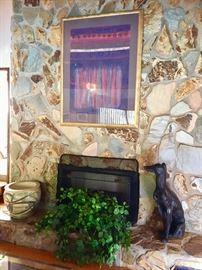 Framed Art - Garden Pot -  Silk - Dog