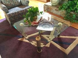 Great area Rug - Glass Top Coffee Table - Pottery - Coffee Table Books - Silk