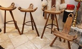 Rustic wood and iron stools and chairs