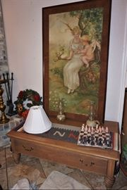 1912 original painting by Esse Forrester, a solid wood coffee table and a marble chess set