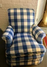 Henredon blue and white preppy club chair