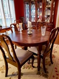 Ethan Allen Dining Chairs (6 Chairs Total) and Pottery Barn Dining Room Table with two leaves