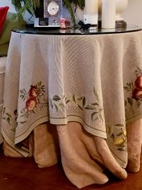 Ballard Designs Table with Made in France Tablecloth  Price: $50