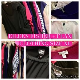 Eileen Fisher, Flax and other Women's Clothing Size XL Over 50 pieces of clothing all individually priced $10-$30 each on rack.  Mix of silks. Cashmere and other fabrics.