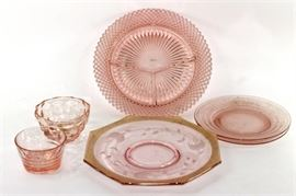 Lot of Pink Depression Glass