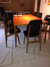 Table with 8 Brodrene Solheim Chairs