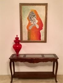 Bassett Console Table. Vintage signed oil painting.