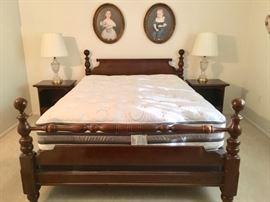 Queen 4-Post bedframe. Very nice Queen mattress.