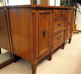 """Solid Wood Hutch With 3 Drawers And Storage Cabinets, 31"""" x 50"""" x 17.5"""""""