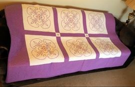 "Hand Pieced, Machine Quilted, Floral Cross Stitch Quilt, 92"" x 73"""
