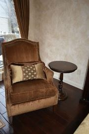 UPHOLSTERED CHAIR, ACCENT TABLE
