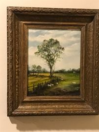Wilfred Maton Vintage, Framed Oil on Wood Panel Landscape w Sheep