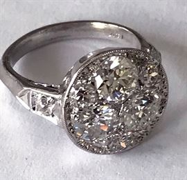 Ladies Vintage Diamond Cluster 14k White Gold Ring. With 3 Old Euro Cut Diamonds Ranging from .55 to .70ct and several .10-.20 totaling 1.80 carats. H-I VS- SI1 Clarity. With EGL Appraisal. STUNNING!!!
