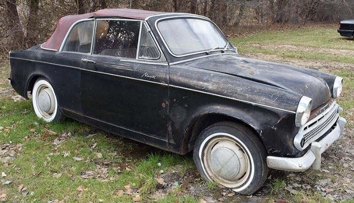At 8PM: 1959 Hillman Minx Convertible Black Exterior, Red Interior; Red Convertible Soft Top; Antique Auto; Highly Collectible!; AS IS Condition. VIN: D13293220
