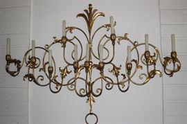 Gold metal candelabra.