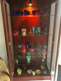 glass shelves inside, collection of carnival glass!
